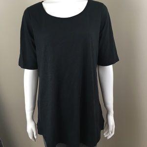 Women's Lands End T-shirt Black Medium Long